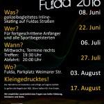 Termine der Skatenight Fulda, Saison 2016 Abfahrt 20:00 Uhr